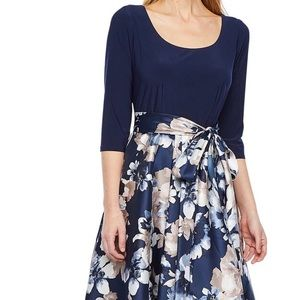 RM Richard High Low Dress (navy/taupe)